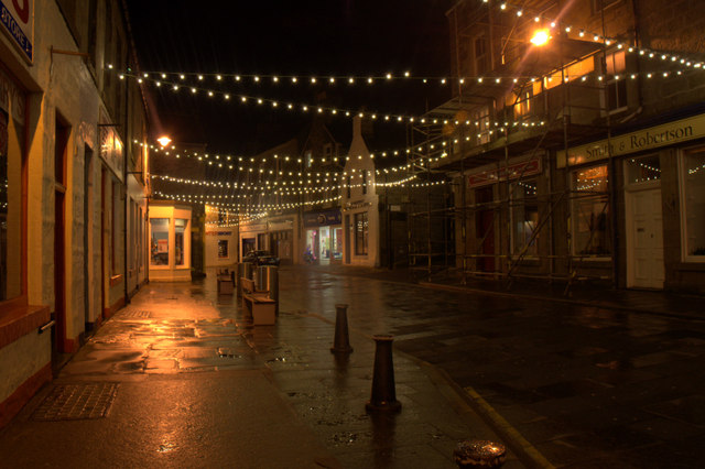 Christmas lights at the north end of Commercial Street, Lerwick
