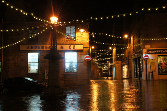 Christmas lights at the Cross, Commercial Street, Lerwick