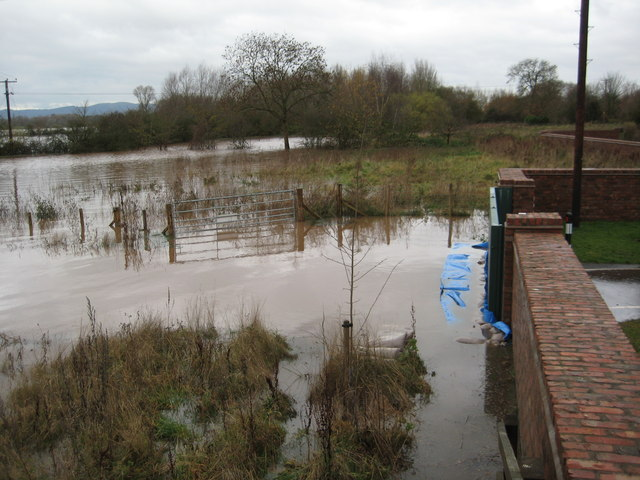 Flood water beyond the defences