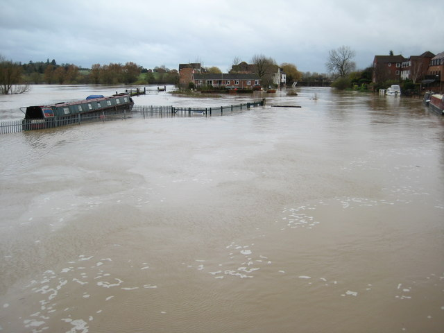 The flooded Avon at Tewkesbury