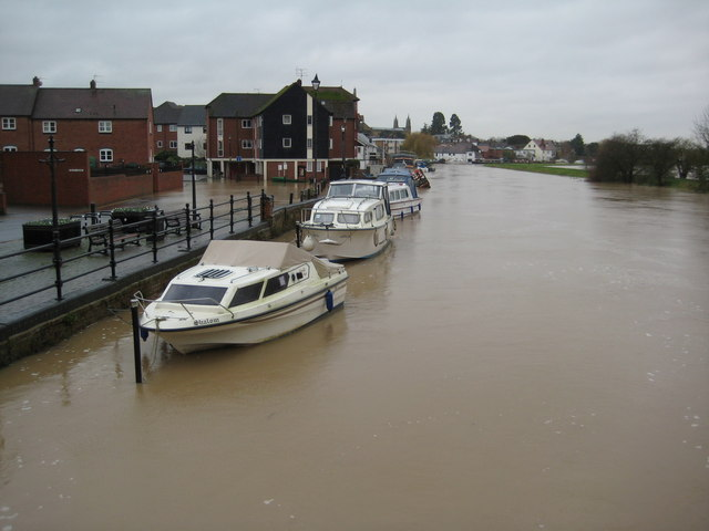 Boats moored on the flooded Mill Avon