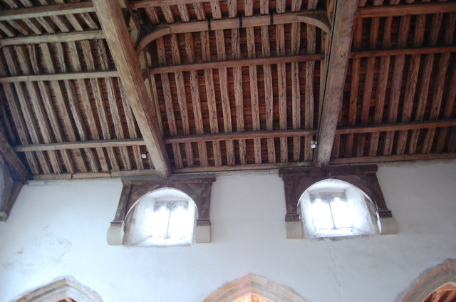 Clerestory windows and roof timbers, St George's church