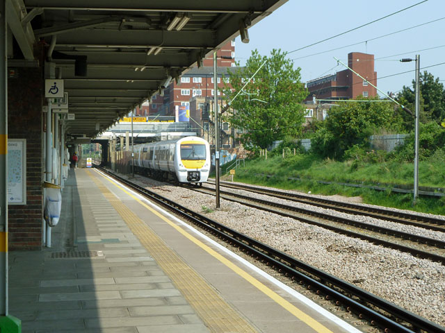 Down C2C train passing Dagenham Heathway