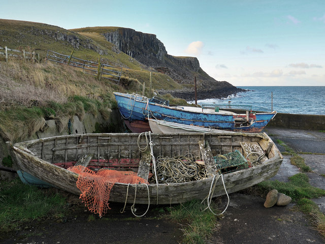 Boats at Camas Mòr, Bornesketaig