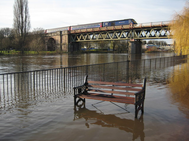 Flooded seat and passing train