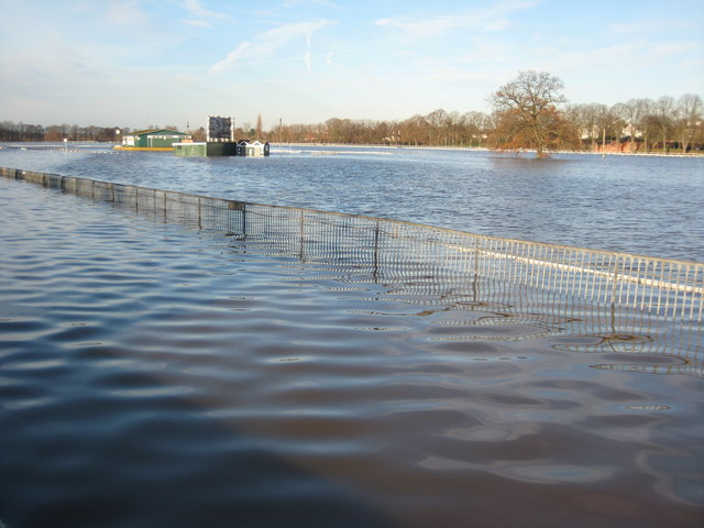 Flooded Pitchcroft in Worcester