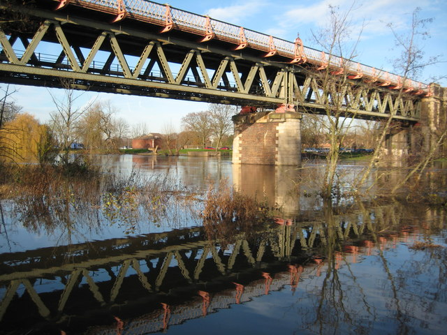 Worcester railway bridge reflected in floodwater
