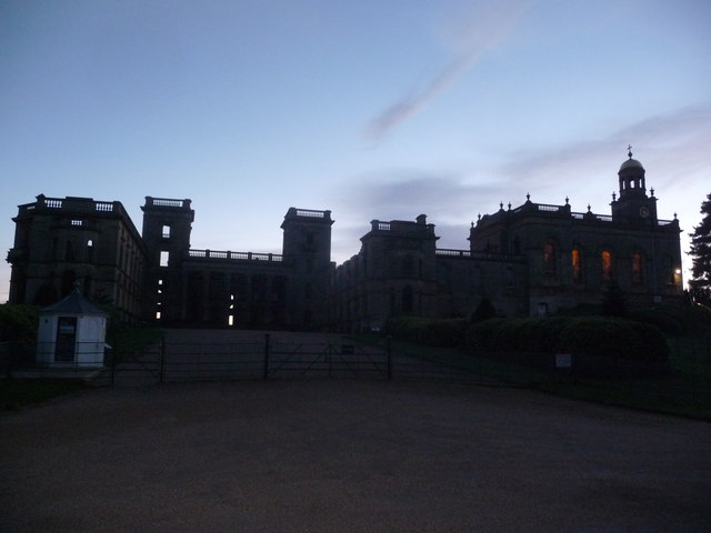 Witley Court ruins at dusk in November