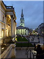 TQ3080 : St. Martin-in-the-Fields at dusk, Trafalgar Square by pam fray