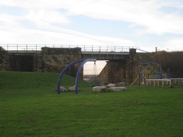 Playground and railway bridge