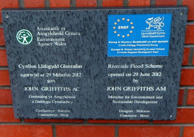Flood defence plaque, Riverside, Newport
