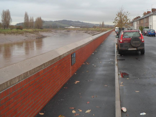 Along the Riverside flood defence wall, Newport