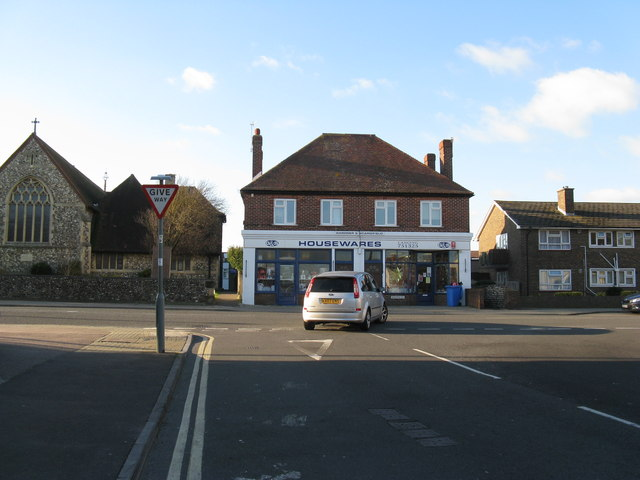 Shop by road junction