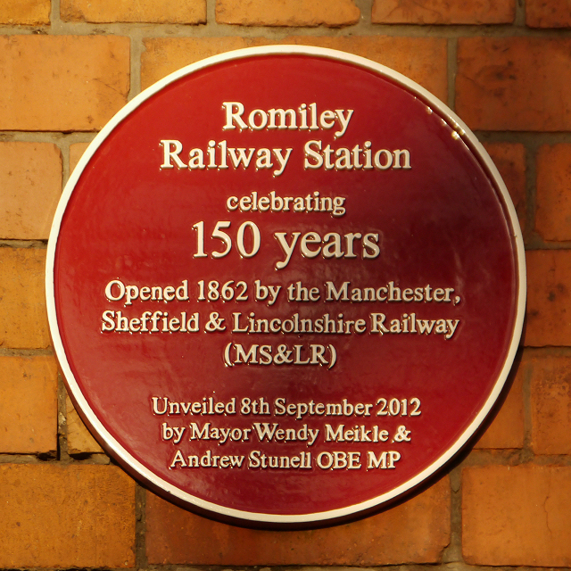 Plaque at Romiley Station