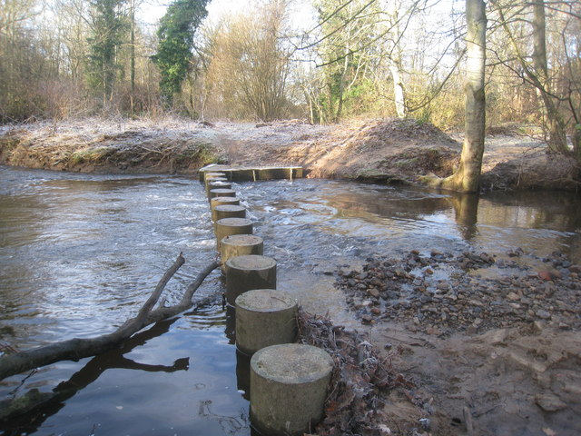 Stepping stones over the Ridingmill Burn