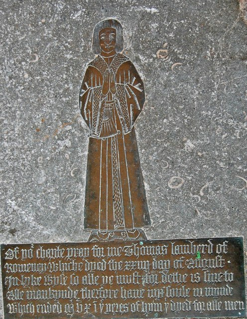 Brass to Thomas Lamberd, St Nicholas' church, New Romney