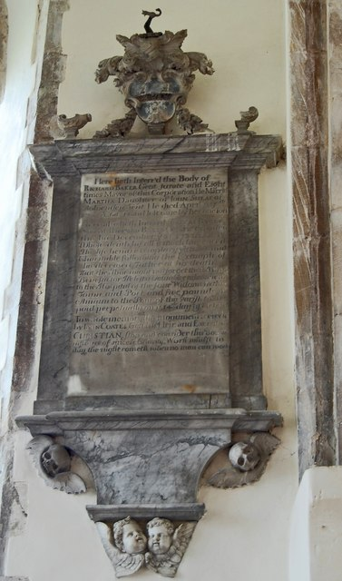 Memorial to Richard Baker, St Nicholas church, New Romney