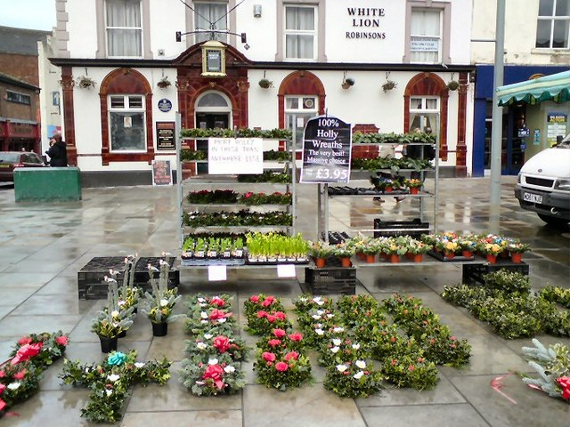 Holly Wreaths outside the White Lion