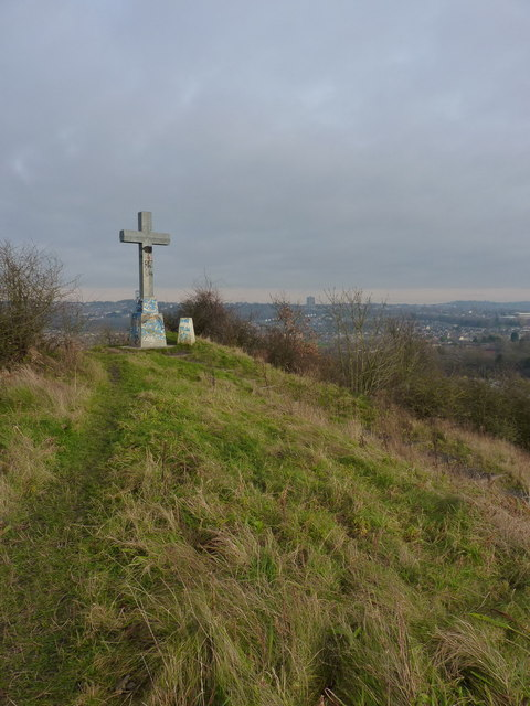 Cross and trig on Barrow Hill