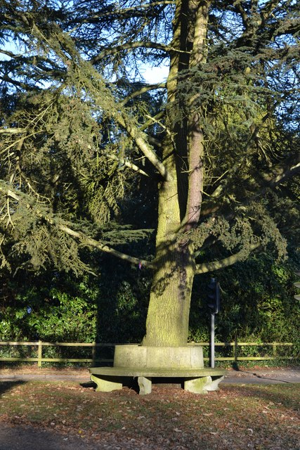 Memorial bench on crossroads at Hursley
