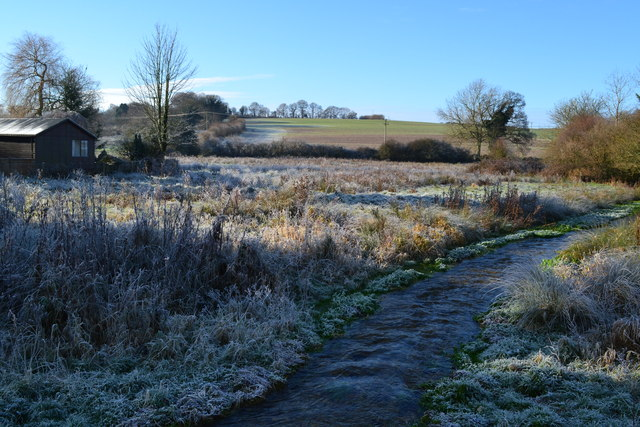 Frosty stream at Cheriton