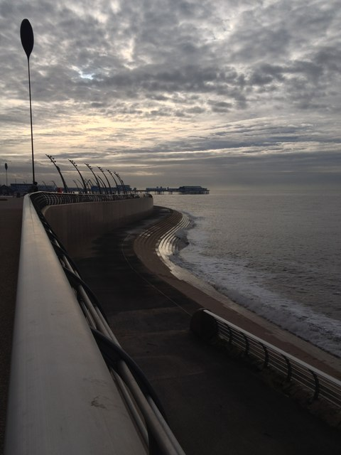 New sea wall and sea defences, and Central Pier, Blackpool