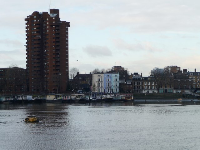 Colourwashed houses on Cheyne Walk, Chelsea