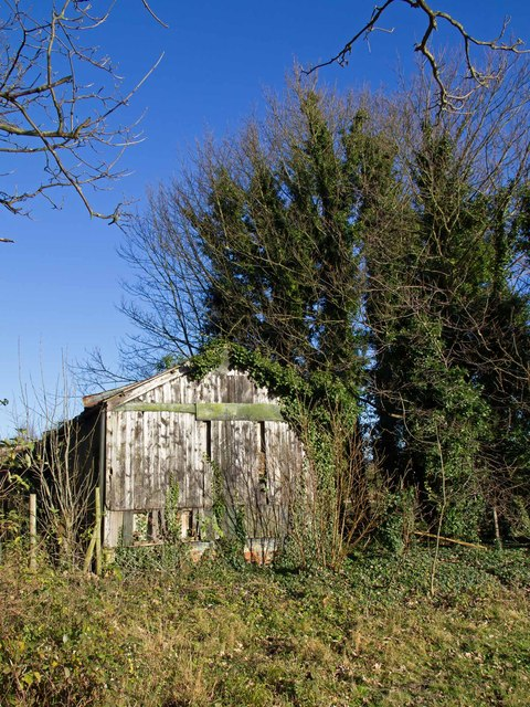 Derelict building by the footpath