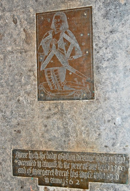 Brass to John Dering, St Nicholas' church, Pluckley