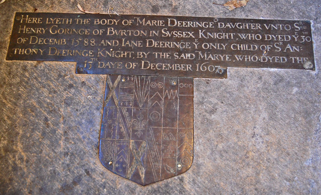 Brass to Marie and Jane Dering, Pluckley church