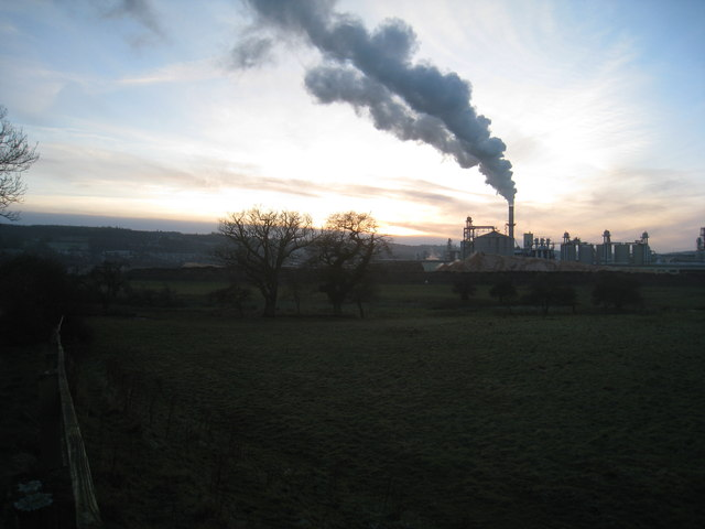 The Tyne Valley and chipboard factory near sunset