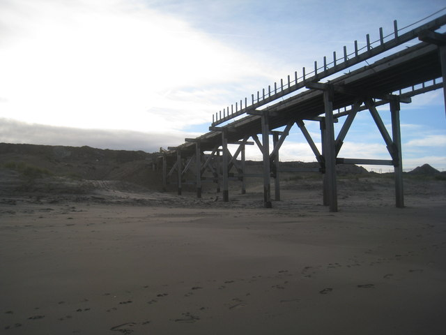 The landward end of the pier