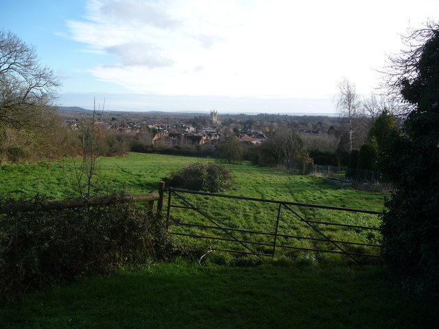 View to Pershore Abbey from Allesborough Hill