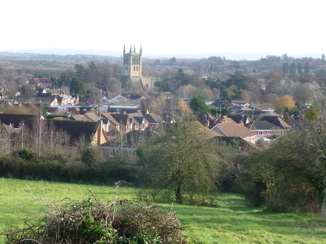View down to Pershore Abbey from Allesborough Hill