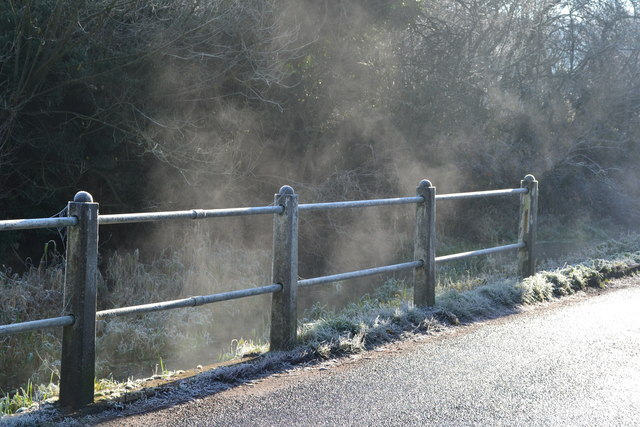 Mist rising from stream beside the B3046