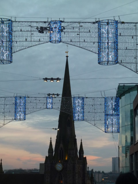 Birmingham - Xmas decoration and St Martin's Church