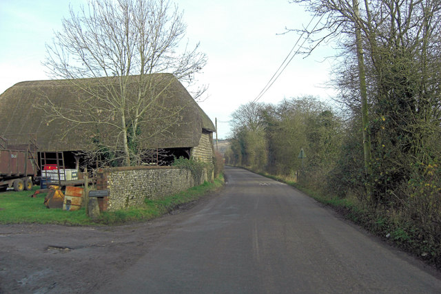 Unnamed lane passes Westbury Manor Farm