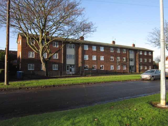The flats on Anson Road, Bilton Grange Estate