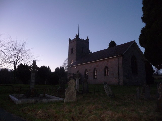 Hopton Wafers church on a December evening