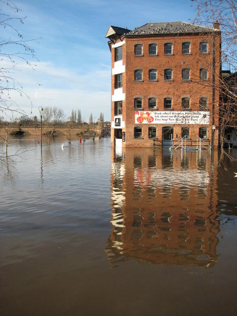 Former warehouse and floodwater