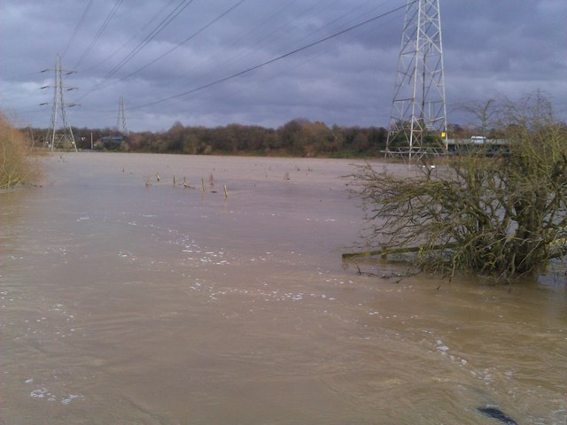 Heavy flooding on the Aylestone Meadows