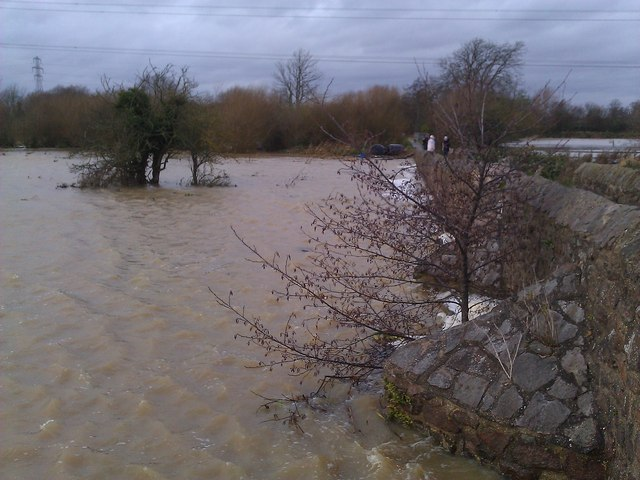 Heavy flooding at the 15th century Packhorse Bridge
