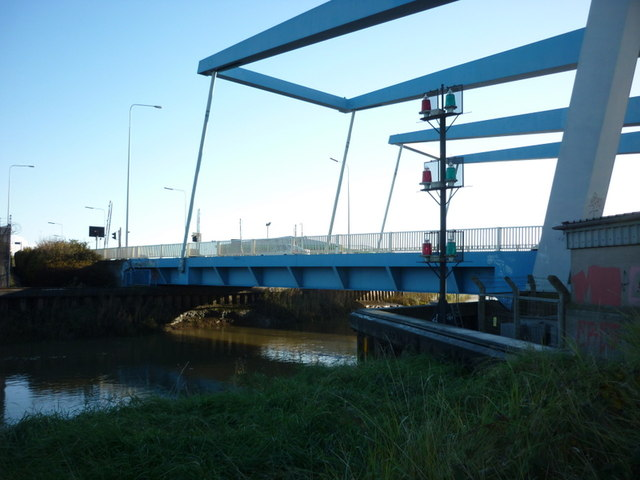 The twin bridges over the River Hull at Stoneferry,Hull