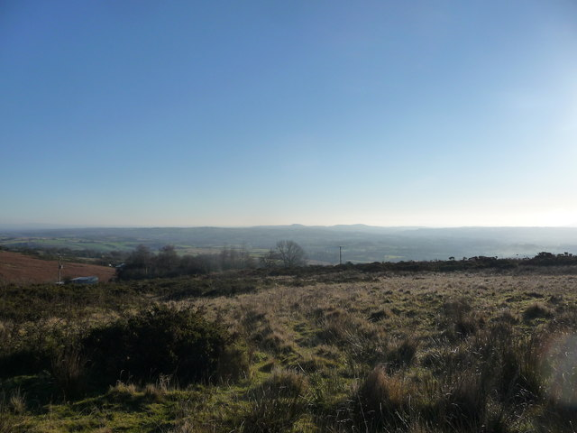 View south-eastwards from Clee Hill Common in December