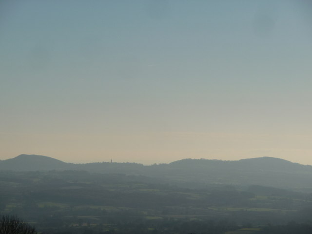 Abberley Hill, Bell Tower and Woodbury Hill from Clee Hill Common
