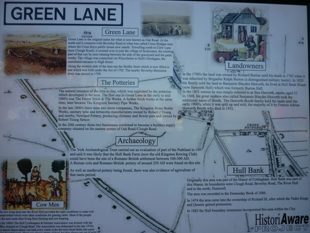 A information board at Oak Road