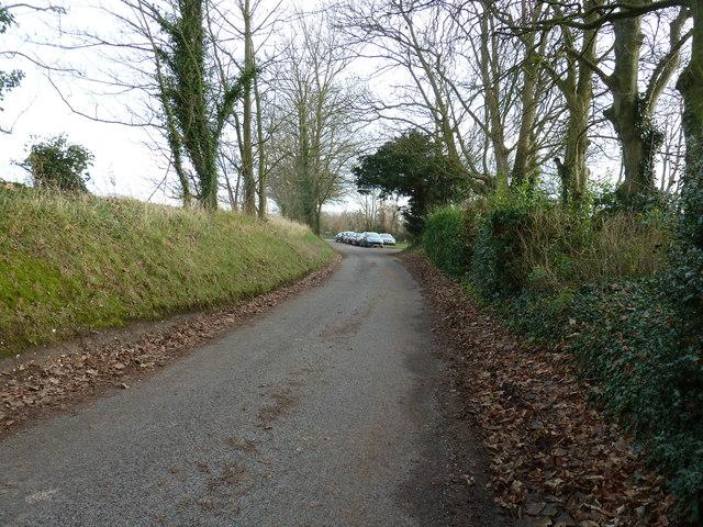 Parked cars off Hares Lane near Funtington