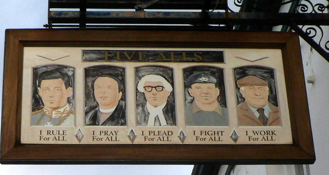 The Five Alls pub sign, Cheltenham