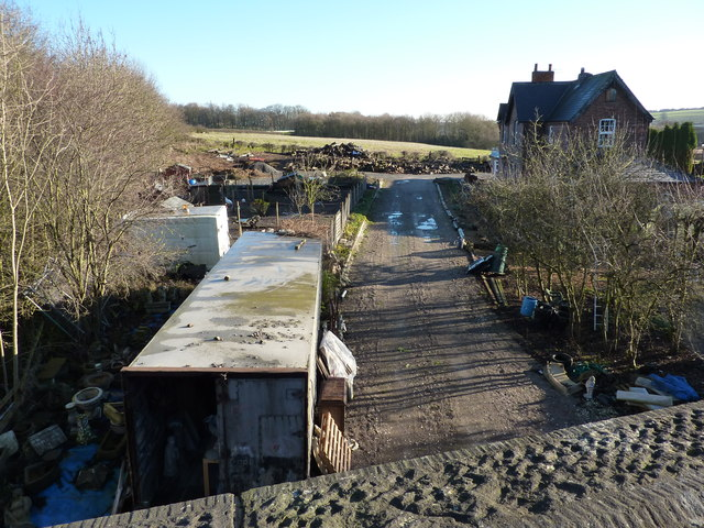 House and yard on course of old railway line