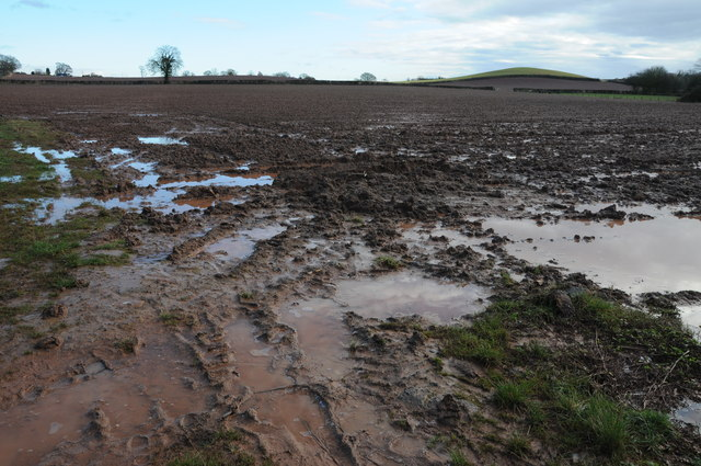 Wet ploughed field